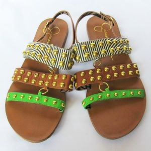 Jessica Simpsons Gold Studded Flat Strap Sandals